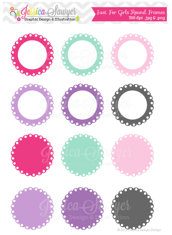 Download Just For Girls Labels Scalloped Frame Clipart Printable