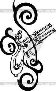Gun Tribal Tattoo   Vector Clipart