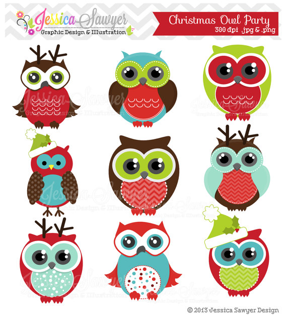 Instant Download Christmas Owl Party Clipart Holiday Owls Clip Art