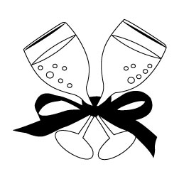 Champagne Black And White Clipart - Clipart Suggest
