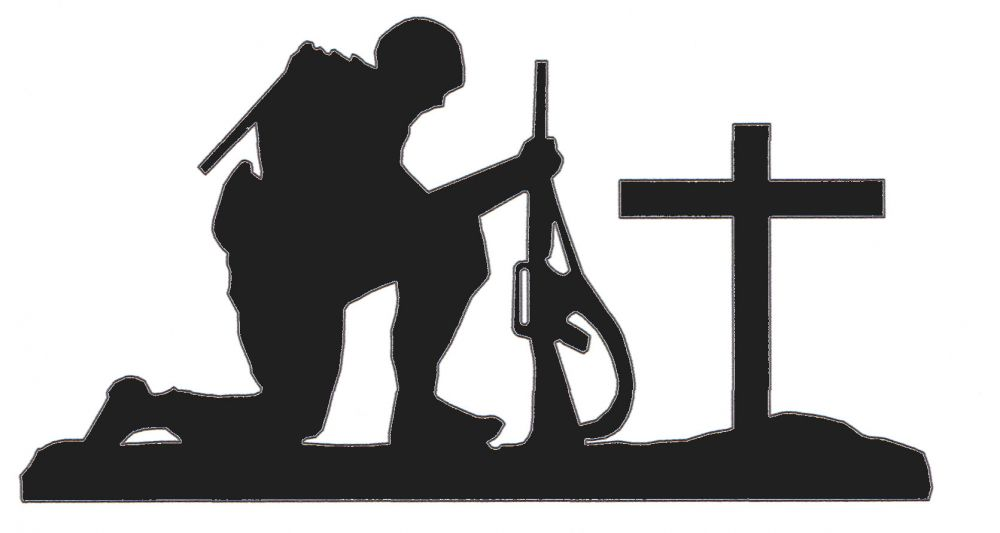 Soldier Kneeling At Cross Silhouette Clipart   Free Clip Art Images