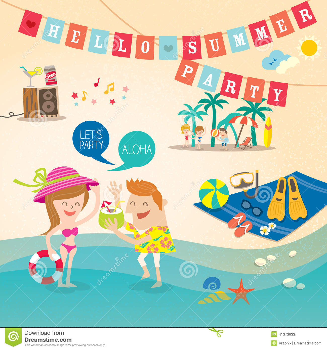 Summer Holiday Cartoon Background Clip Art Stock Vector   Image