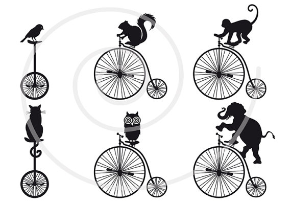 Unicycle Digital Clip Art Clipart Printable Vector Download