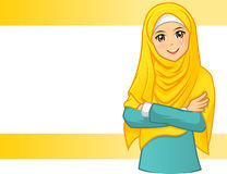 Woman Wearing Yellow Veil With Folded Arms Royalty Free Stock Image