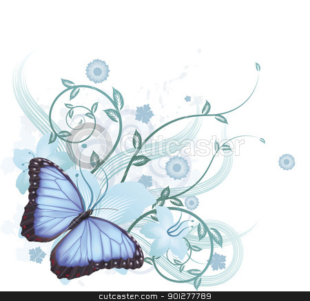 Beautiful Blue Butterfly Background Stock Vector Clipart Beautiful