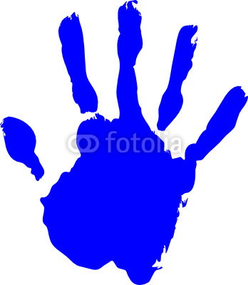 Blue Hand Print Vector On Pure White Background Stock Image And