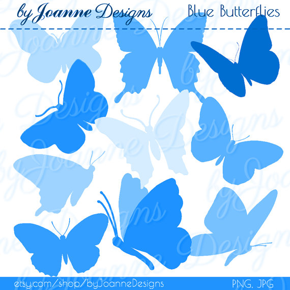 Butterfly Clipart Blue Butterfly Clipart Silhouettes   Digital