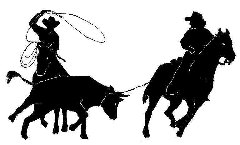 Calf Roping Silhouette Team Ropers