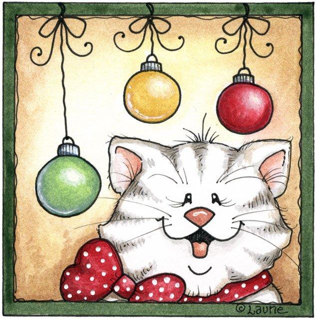 free christmas kitten clipart - photo #21