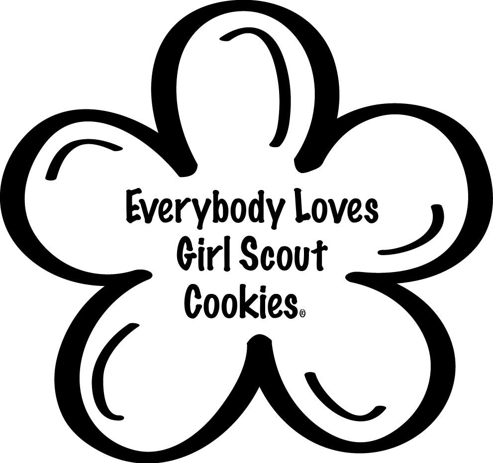 girl scout cookies coloring pages - girl scout daisy black and white clipart clipart suggest