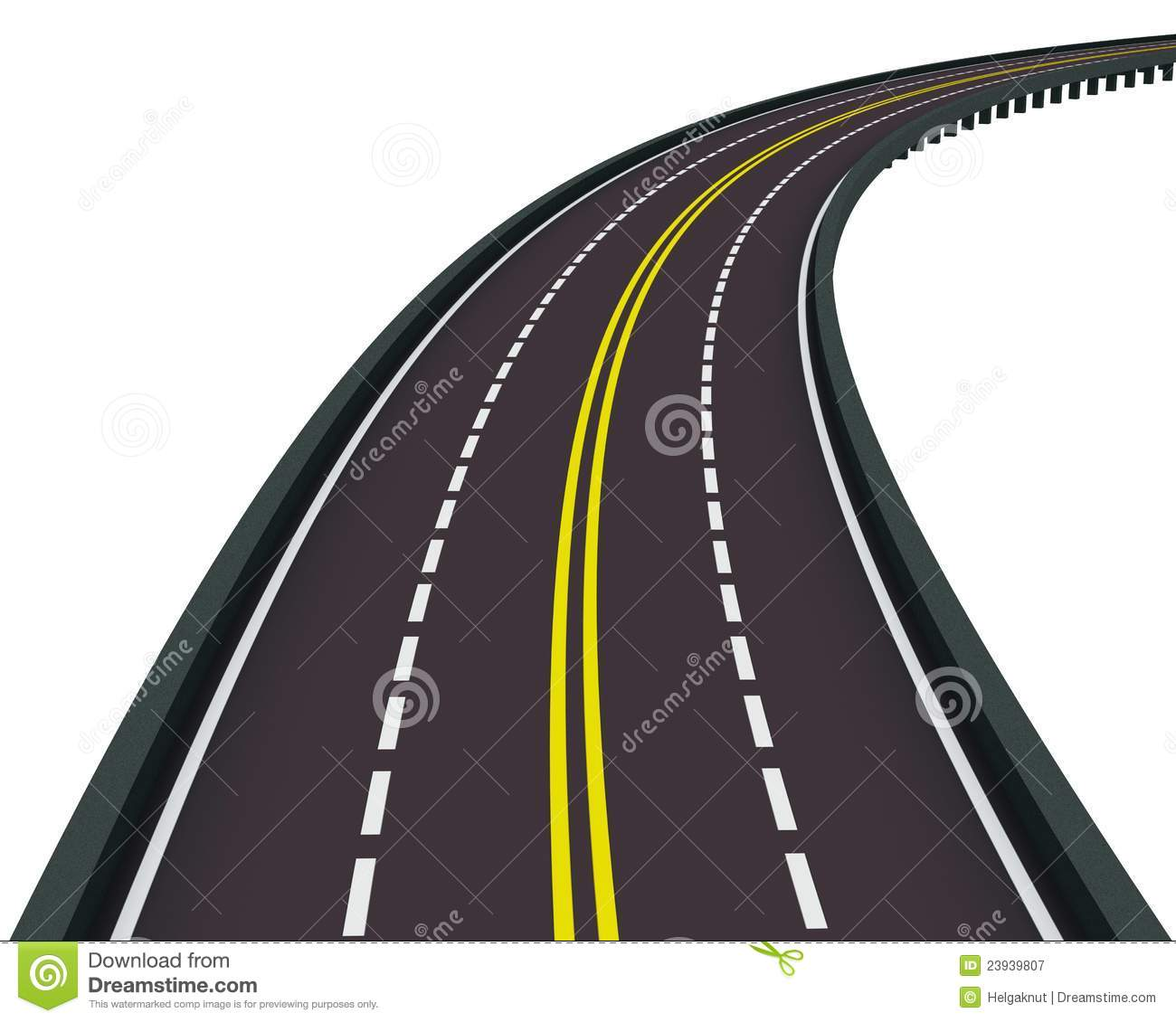 Highway Clipart Highway Turned Right Isolated