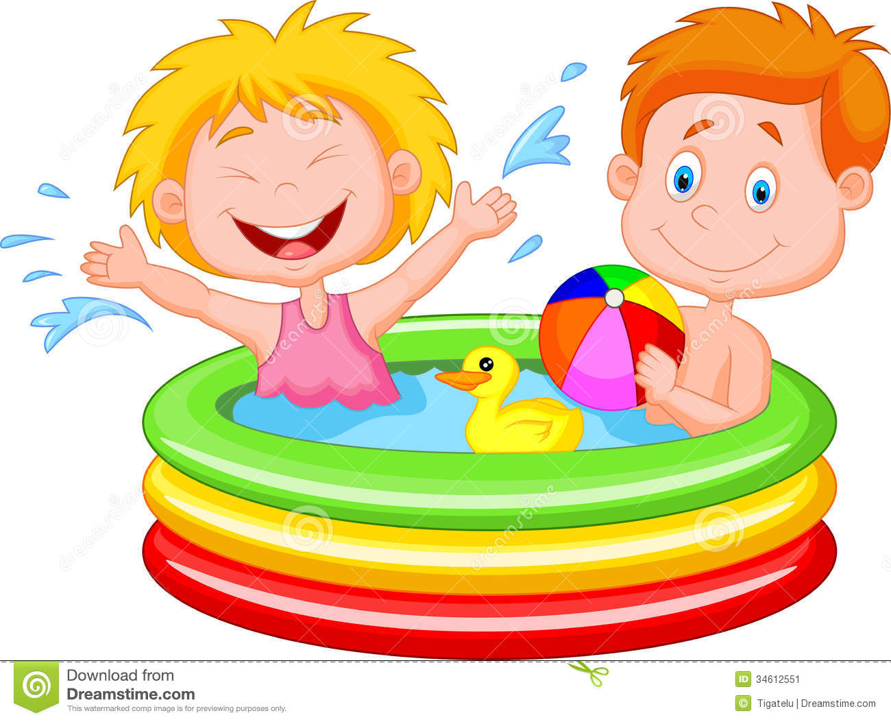 Kids Playing In An Inflatable Pool Stock Image   Image  34612551