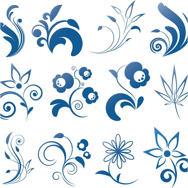 Blue Flower Swirl Clip Art