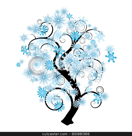 Snowflake Tree Stock Vector Clipart Blue And White Snowflake Abstract