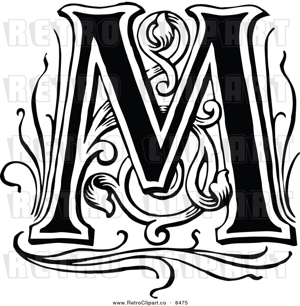 Vector Clipart Of A Retro Black And White Letter M By Prawny Vintage