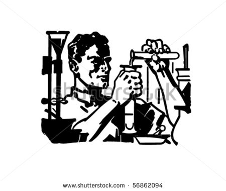 Chemist   At Work In The Lab   Retro Clip Art   Stock Vector