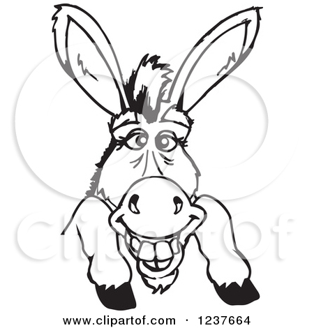 Donkey Black And White Clipart - Clipart Kid