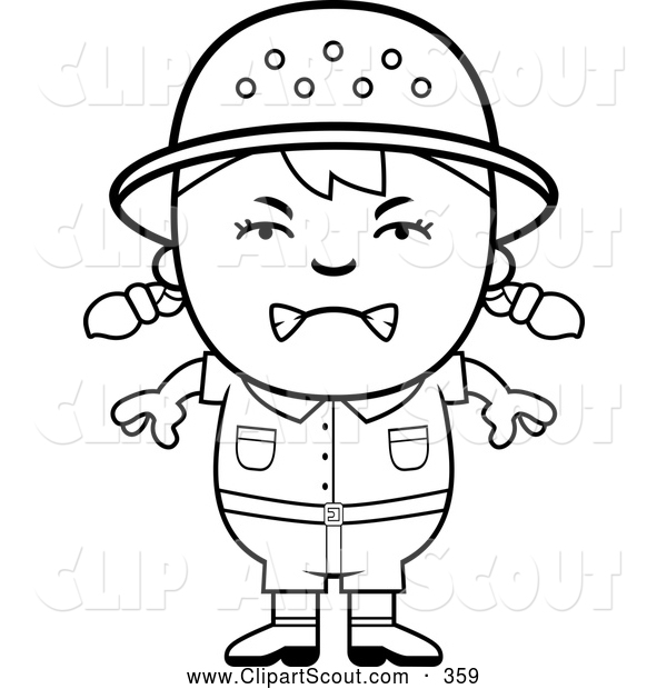 Clipart Of A Frustrated Black And White Angry Safari Girl By Cory