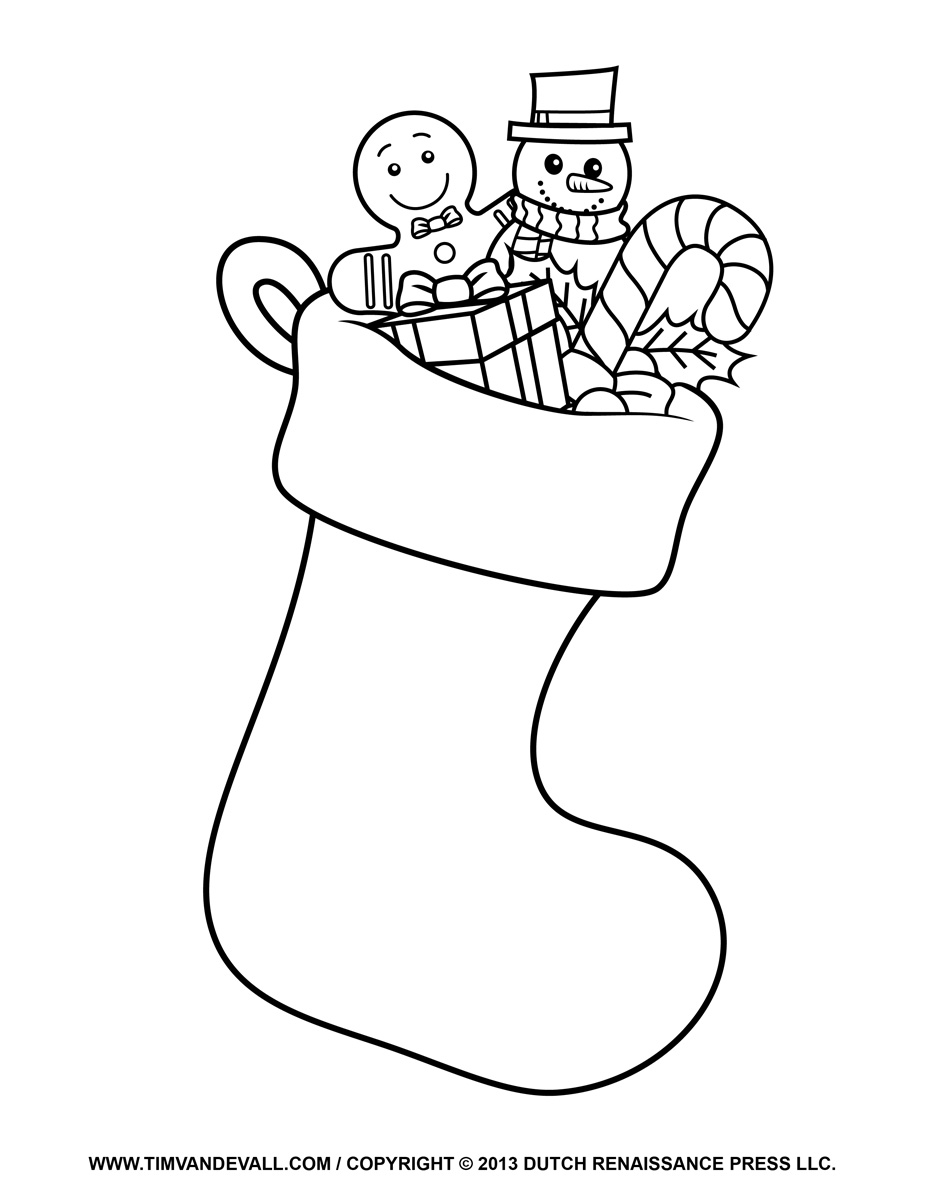 Free Christmas Stocking Template Coloring Page Clipart   Decorations