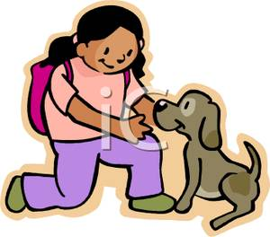 Girl With A Backpack Petting A Puppy   Royalty Free Clipart Picture
