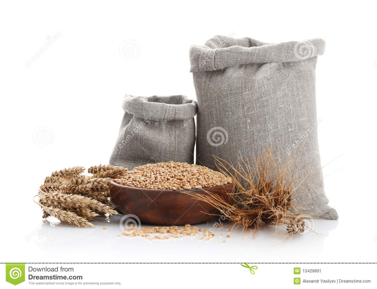 Grain Of The Wheat In Bags And A Bowl Stock Image   Image  13429891