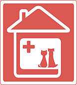 Home Veterinary Symbol With Pet   Royalty Free Clip Art