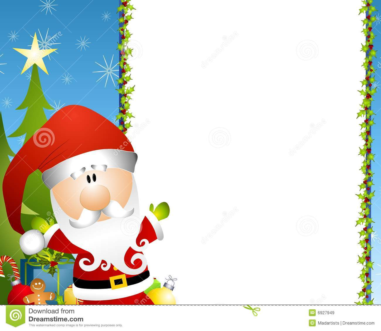 Illustration Featuring A Santa Claus With Holly Border And Presents