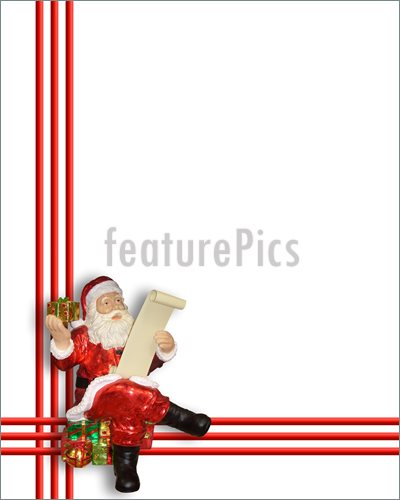 Santa Claus Ornament For Card Border Frame Or Background With Copy