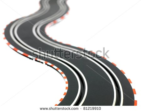 Slot Car Racing Track Isolated On A White Background   Stock Photo