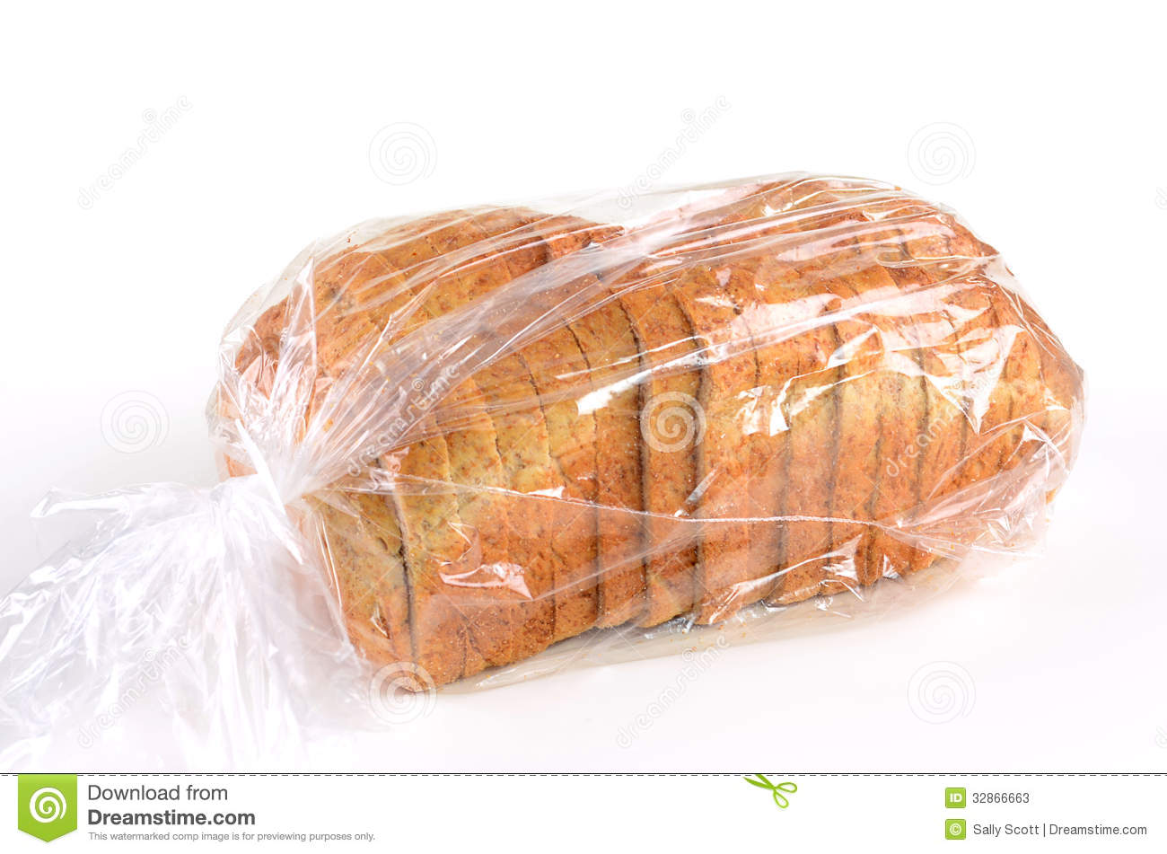 Whole Grain Sliced Bread In Plastic Bag Stock Photos   Image  32866663