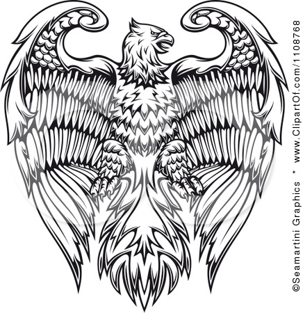 1108768 Clipart Black And White Heraldic Eagle Crest Royalty Free