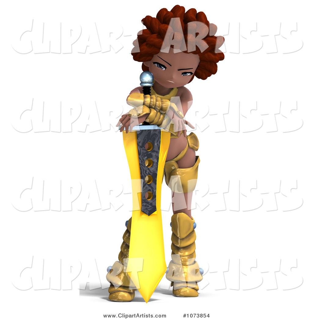 3d  1073854   3d Black Knight Girl Holding A Sword 4