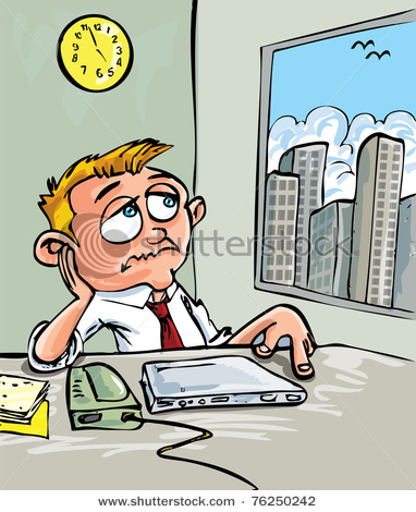 Bored Worker Looking Out The Window In A Vector Clip Art Illustration