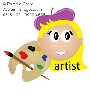 Clip Art Illustration Of A Female Artist Occupation Icon