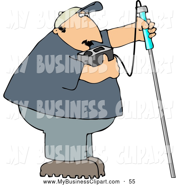 Clip Art Of A Bored Gas Checker Man Using A Combustible Gas Detector