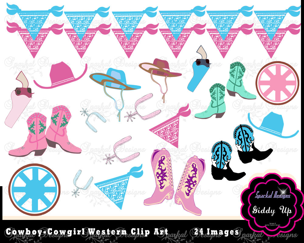 Cowboy Clip Art Cowgirl Clipart Birthday Invitation Clipart Pink