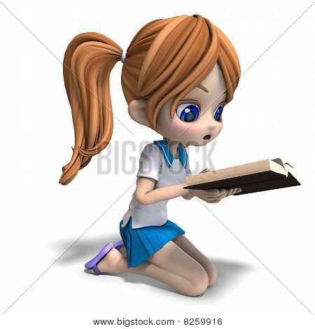 Cute Little Cartoon School Girl Reads A Stock Photo   Stock Images