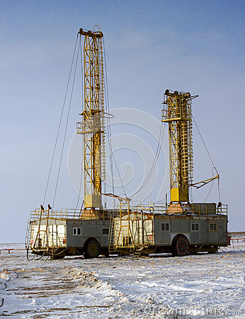 Drilling Rig Working In The Desert In The Winter