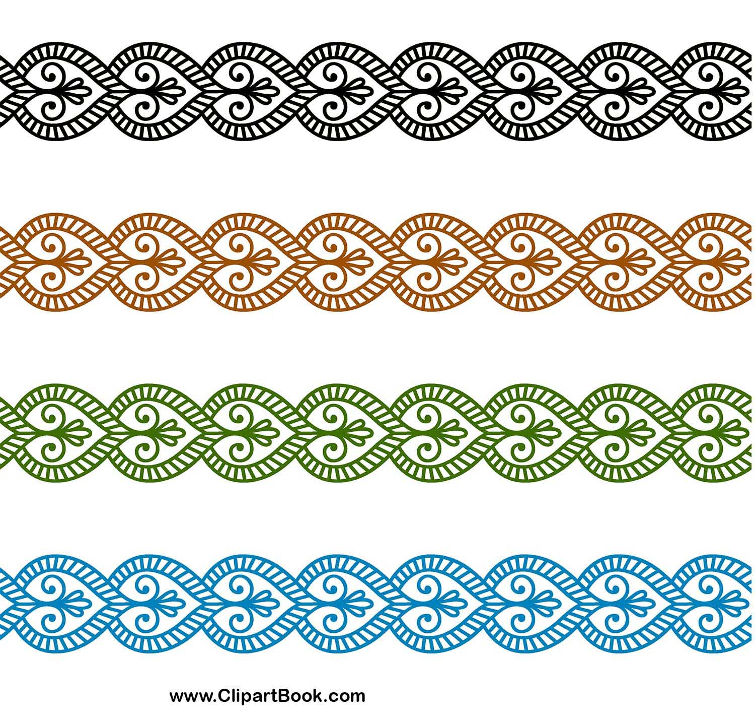 Embroidery Digitizing Borders Designs Indian Motif Henna Mehndi