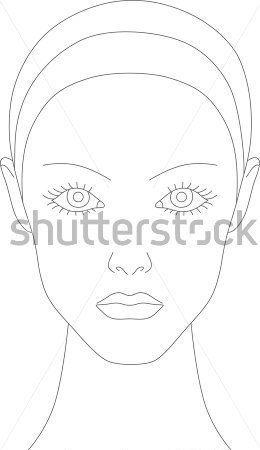Female Face Chart For Makeup Artists Stock Vector   Clipart Me