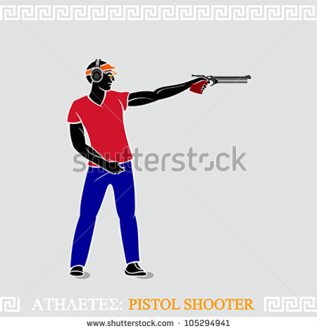 Greek Art Stylized Air Pistol Shooter Ready To Shoot   Stock Vector