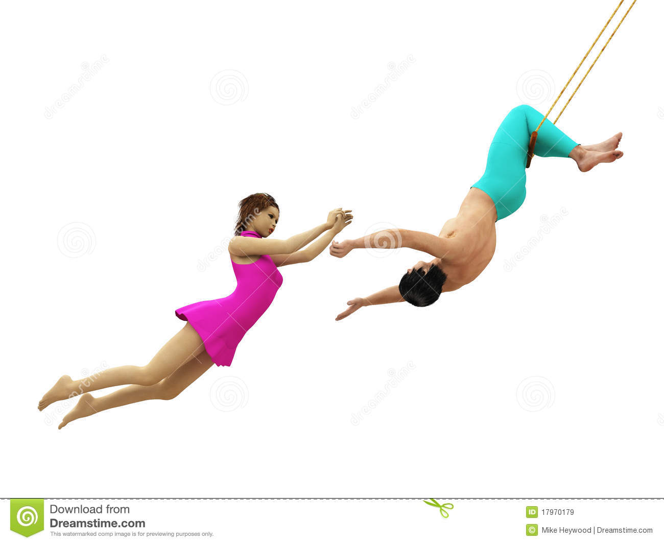 Male Catcher Prepares To Catch Female Flying Trapeze Artist Isolated