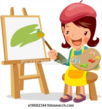 Painter Canvas Easel Painting Full Age View Large Clip Art Graphic