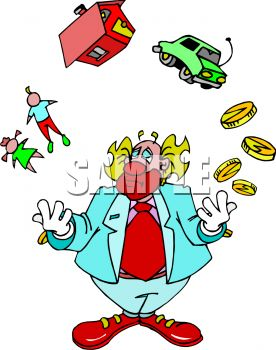 Royalty Free Clip Art Image  Clown Juggling Life
