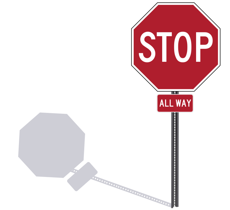 Stop Sign On Post By Rfc1394   Standard U S  Canada Stop Sign With
