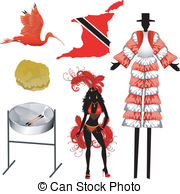 Trinidad And Tobago Icons   Vector Illustration Of 6