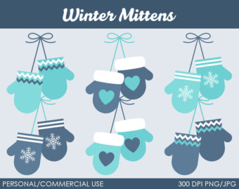 Winter Mittens Clipart   Digital Cl Ip Art Graphics For Personal Or