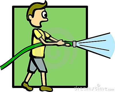 Boy With A Water Hose Vector Illustration Stock Photos   Image