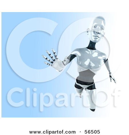 Clipart 3d Futuristic Female Sci Fi Robot Standing 2   Royalty Free