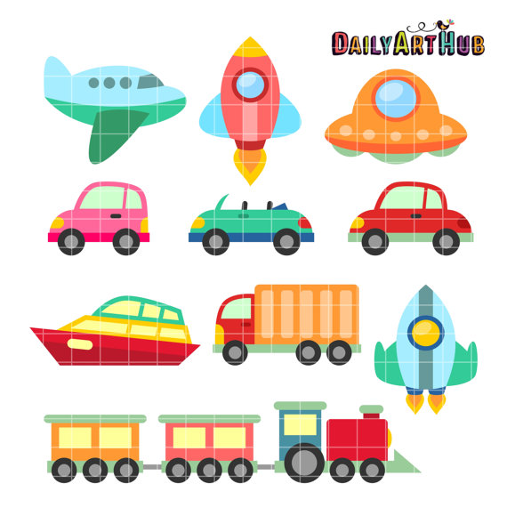 Clipart Air Water Land Printable Transportations Clipart Digital